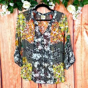 Anthro Fig & Flower Floral Paisley Blouse Top 1656